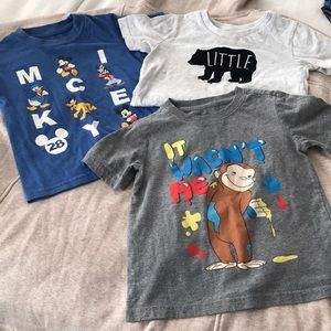 3 T-Shirt Bundle Curios George Disney Mickey Mouse